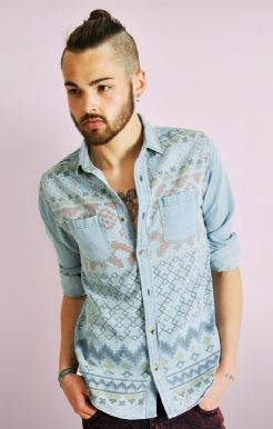 Aztec Print Denim Shirt